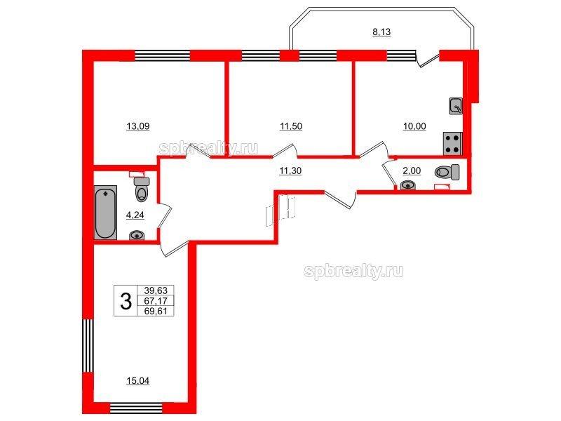 Планировка Трёхкомнатная квартира площадью 69.61 кв.м в ЖК «UP! Квартал Светлановский»
