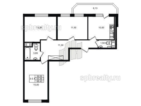 Планировка Трёхкомнатная квартира площадью 71 кв.м в ЖК «UP! Квартал Светлановский»