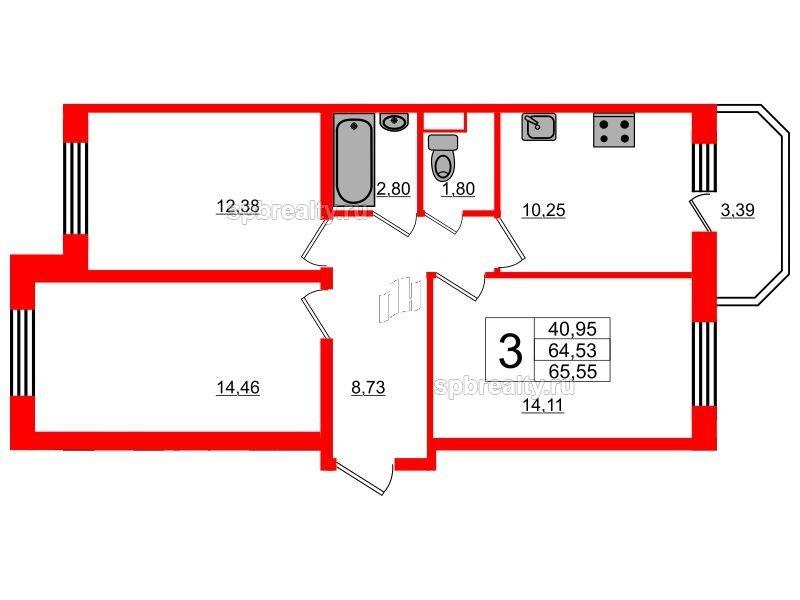 Планировка Трёхкомнатная квартира площадью 65.55 кв.м в ЖК «UP! Квартал Светлановский»