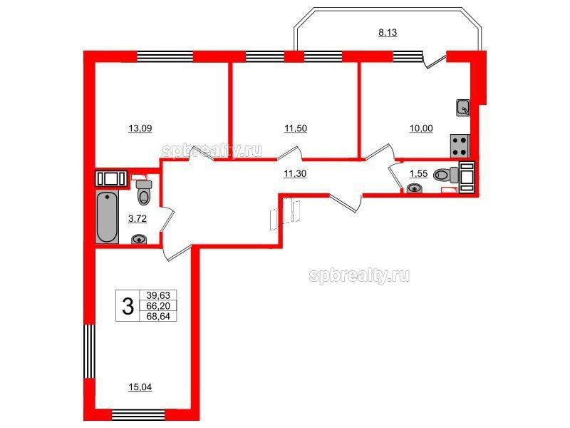 Планировка Трёхкомнатная квартира площадью 68.64 кв.м в ЖК «UP! Квартал Светлановский»