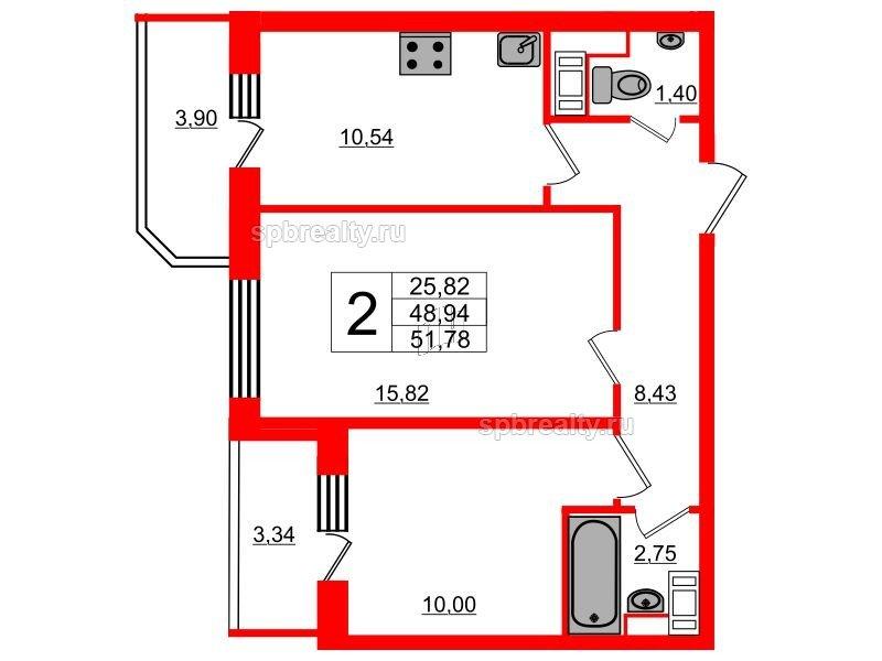 Планировка Двухкомнатная квартира площадью 51.78 кв.м в ЖК «UP! Квартал Светлановский»