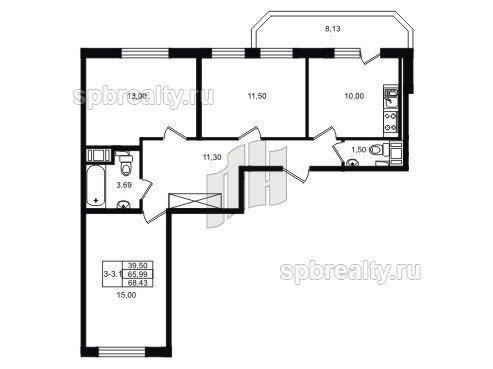 Планировка Трёхкомнатная квартира площадью 70.9 кв.м в ЖК «UP! Квартал Светлановский»
