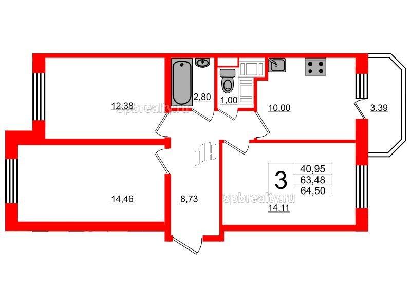 Планировка Трёхкомнатная квартира площадью 64.5 кв.м в ЖК «UP! Квартал Светлановский»