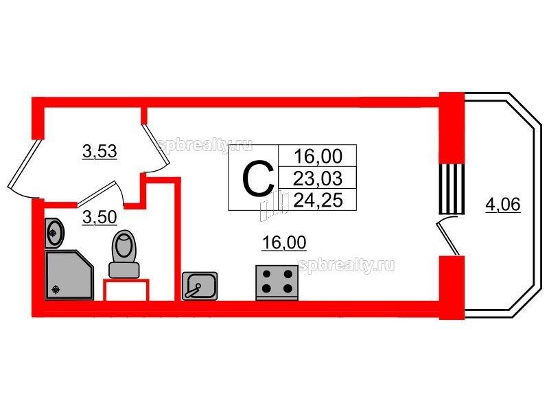 Планировка Студия площадью 24.25 кв.м в ЖК «UP! Квартал Светлановский»