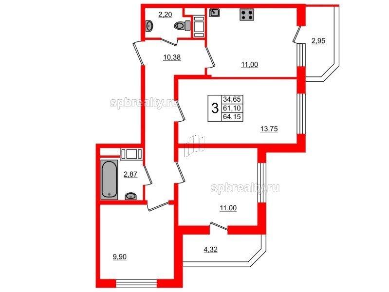 Планировка Трёхкомнатная квартира площадью 64.15 кв.м в ЖК «UP! Квартал Светлановский»