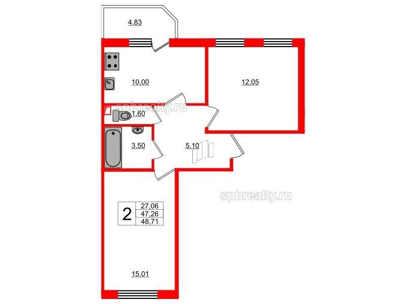 Планировка Двухкомнатная квартира площадью 48.71 кв.м в ЖК «UP! Квартал Светлановский»