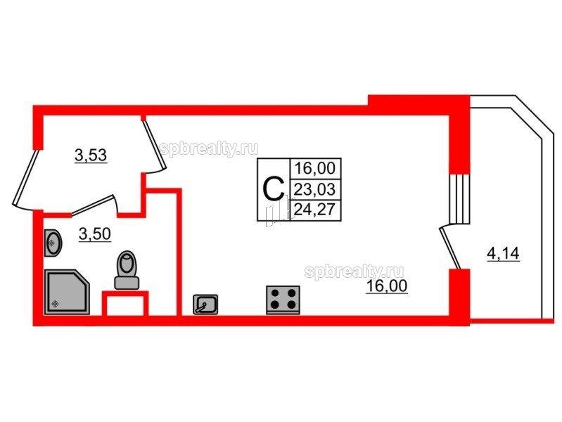 Планировка Студия площадью 24.27 кв.м в ЖК «UP! Квартал Светлановский»