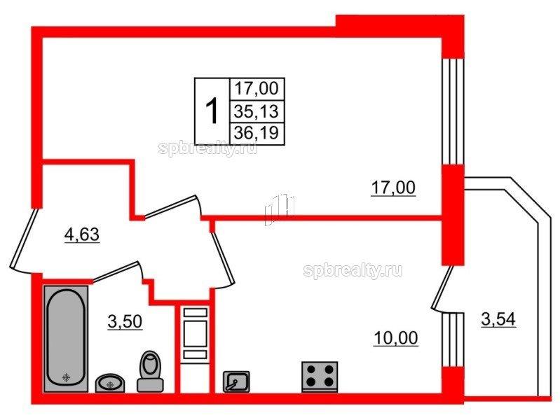 Планировка Однокомнатная квартира площадью 36.19 кв.м в ЖК «UP! Квартал Светлановский»