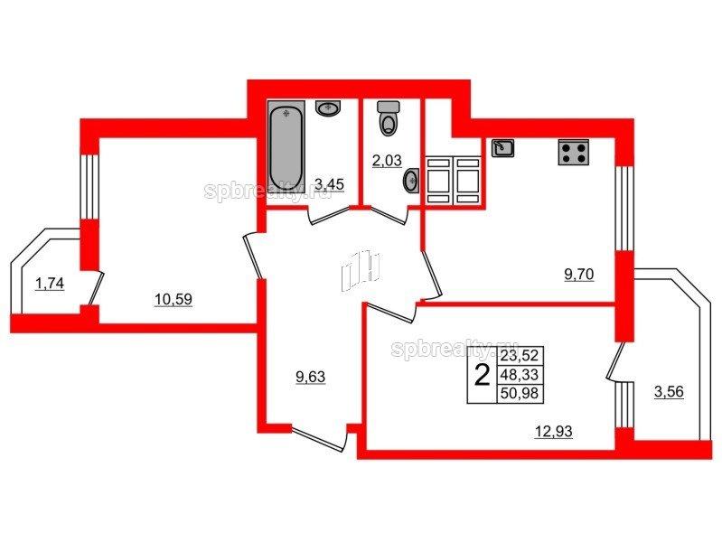 Планировка Двухкомнатная квартира площадью 50.98 кв.м в ЖК «UP! Квартал Светлановский»