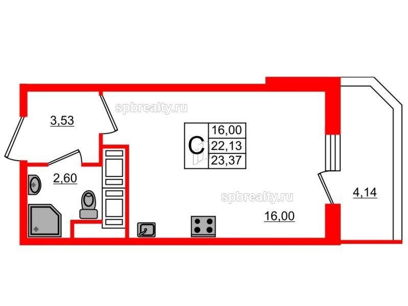 Планировка Студия площадью 23.37 кв.м в ЖК «UP! Квартал Светлановский»