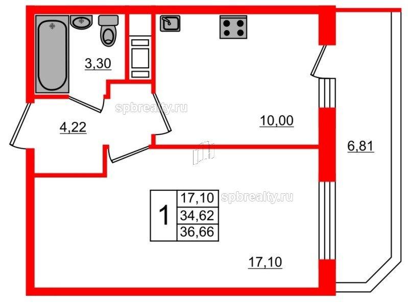 Планировка Однокомнатная квартира площадью 36.66 кв.м в ЖК «UP! Квартал Светлановский»