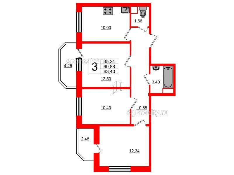 Планировка Трёхкомнатная квартира площадью 63.4 кв.м в ЖК «UP! Квартал Светлановский»