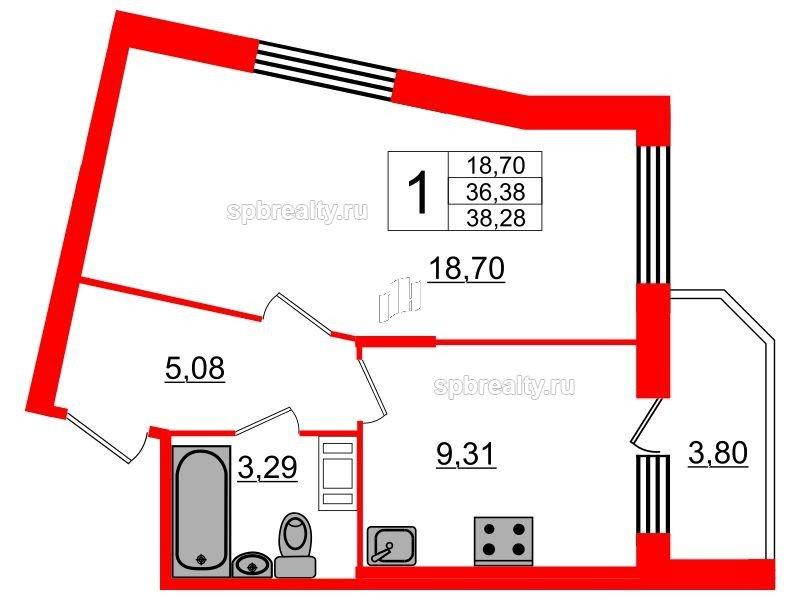 Планировка Однокомнатная квартира площадью 38.28 кв.м в ЖК «UP! Квартал Светлановский»