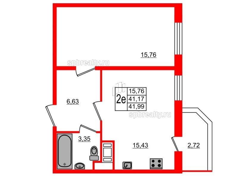 Планировка Однокомнатная квартира площадью 41.99 кв.м в ЖК «UP! Квартал Светлановский»