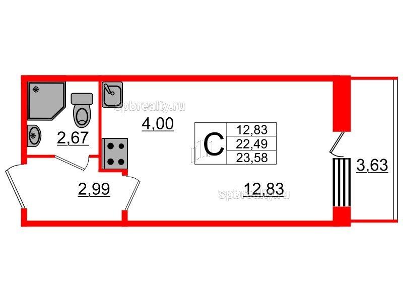 Планировка Студия площадью 23.58 кв.м в ЖК «UP! Квартал Светлановский»