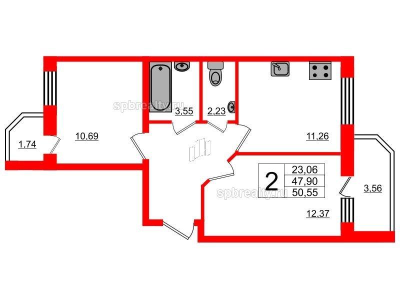 Планировка Двухкомнатная квартира площадью 50.57 кв.м в ЖК «UP! Квартал Светлановский»