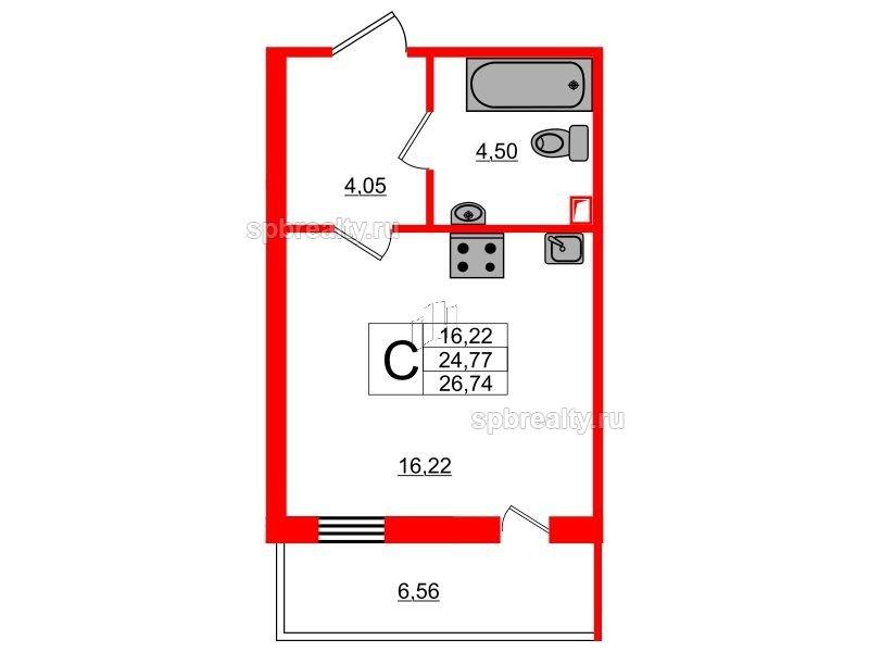 Планировка Студия площадью 26.74 кв.м в ЖК «UP! Квартал Светлановский»
