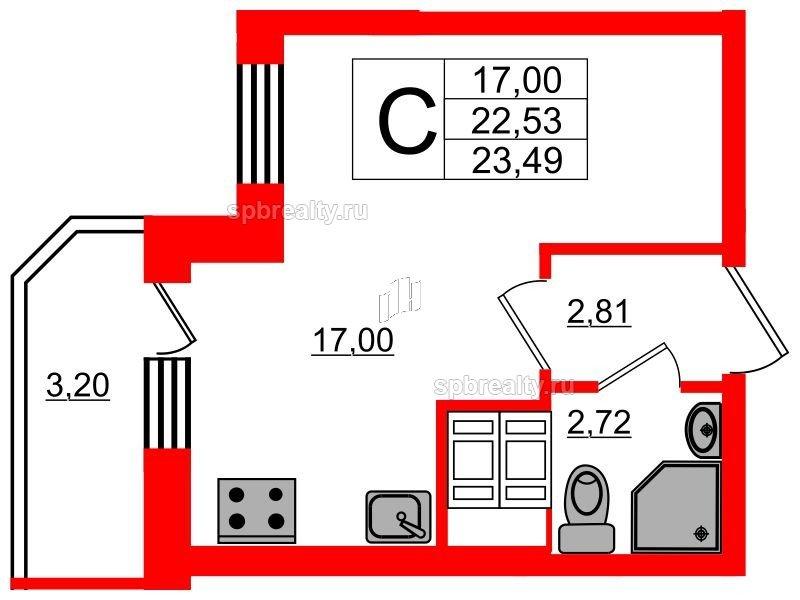 Планировка Студия площадью 23.49 кв.м в ЖК «UP! Квартал Светлановский»