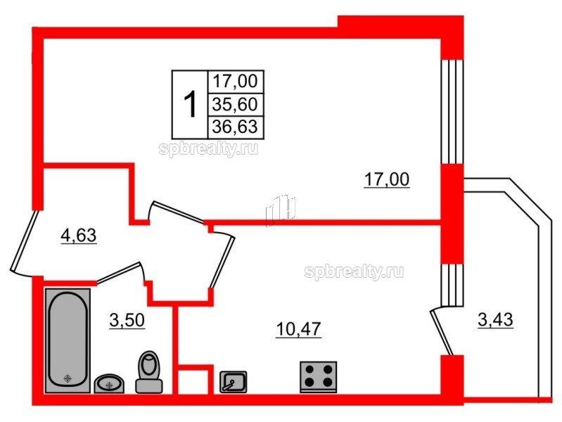 Планировка Однокомнатная квартира площадью 36.63 кв.м в ЖК «UP! Квартал Светлановский»