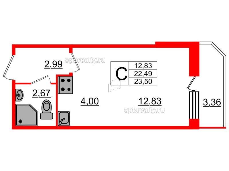 Планировка Студия площадью 23.5 кв.м в ЖК «UP! Квартал Светлановский»