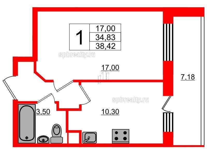 Планировка Однокомнатная квартира площадью 38.42 кв.м в ЖК «UP! Квартал Светлановский»