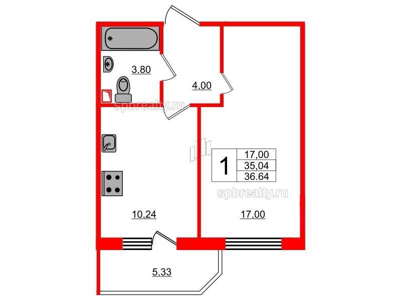 Планировка Однокомнатная квартира площадью 36.64 кв.м в ЖК «UP! Квартал Светлановский»