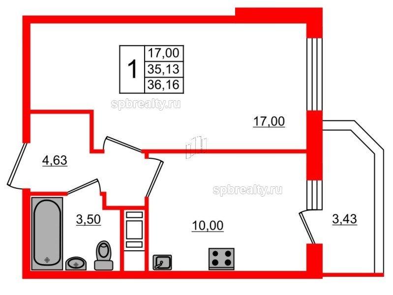 Планировка Однокомнатная квартира площадью 36.16 кв.м в ЖК «UP! Квартал Светлановский»