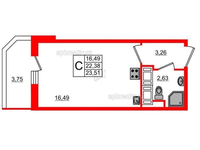 Планировка Студия площадью 23.51 кв.м в ЖК «UP! Квартал Светлановский»