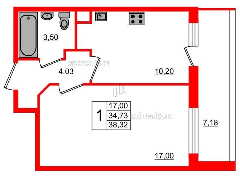 Планировка Однокомнатная квартира площадью 38.32 кв.м в ЖК «UP! Квартал Светлановский»