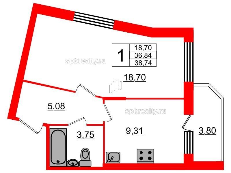Планировка Однокомнатная квартира площадью 38.74 кв.м в ЖК «UP! Квартал Светлановский»