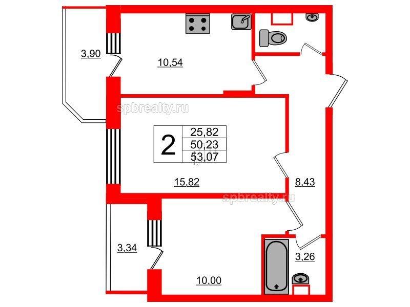 Планировка Двухкомнатная квартира площадью 53.07 кв.м в ЖК «UP! Квартал Светлановский»