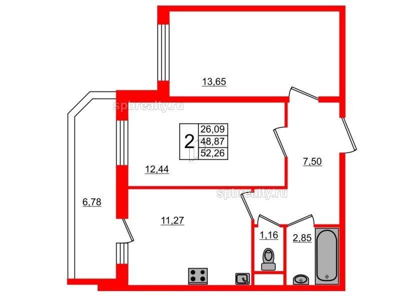Планировка Двухкомнатная квартира площадью 52.26 кв.м в ЖК «UP! Квартал Светлановский»