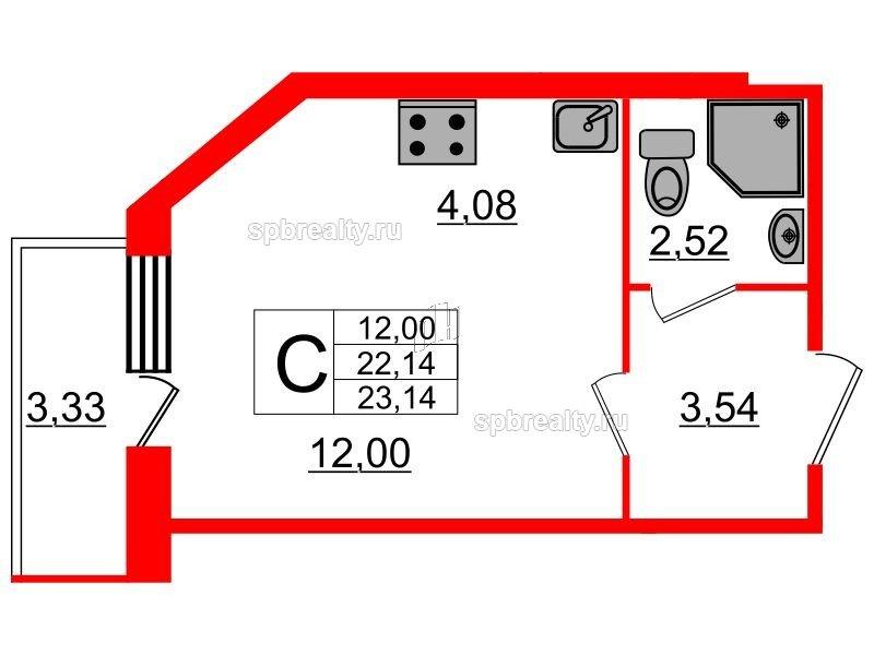 Планировка Студия площадью 23.14 кв.м в ЖК «UP! Квартал Светлановский»