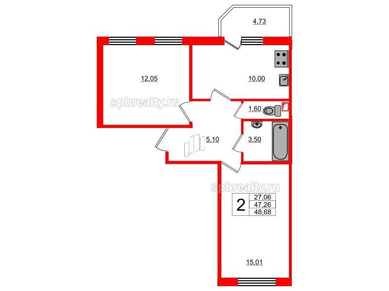 Планировка Двухкомнатная квартира площадью 48.68 кв.м в ЖК «UP! Квартал Светлановский»